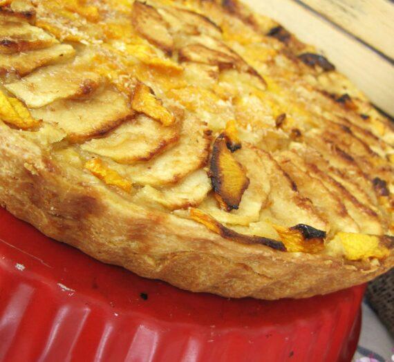 Tarta de manzana y melocotón