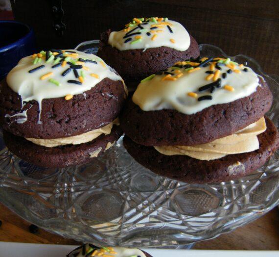 Whoopies de chocolate y café rellenos de crema de Biscoff